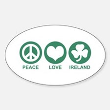 Peace Love Ireland Oval Decal