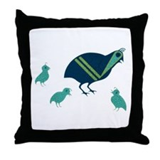 Quail Family Throw Pillow
