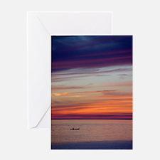 Canoe Sunset Greeting Cards