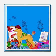 """The Poodle Artist"" Tile Coaster"