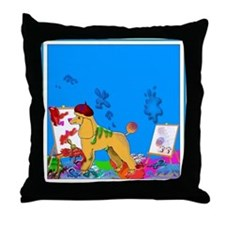 """""""The Poodle Artist"""" Throw Pillow"""