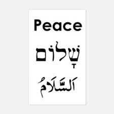 Peace - English, Hebrew, Arab Sticker (Rectangular