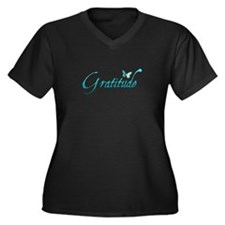 Gratitude Women's Plus Size V-Neck Dark T-Shirt