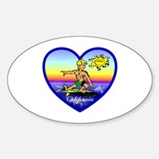 Love California Surf Oval Decal