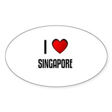 I LOVE SINGAPORE Oval Decal