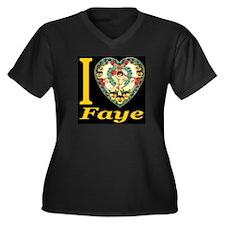 I (Heart) Faye Women's Plus Size V-Neck Dark T-Shi