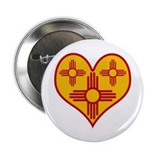 "New Mexico Zia Heart 2.25"" Button"