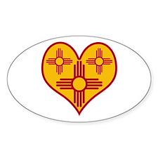 New Mexico Zia Heart Oval Sticker