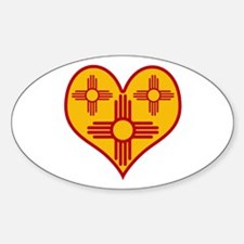 New Mexico Zia Heart Oval Decal
