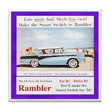 """""""1956 Rambler Ad"""" Tile Coaster"""