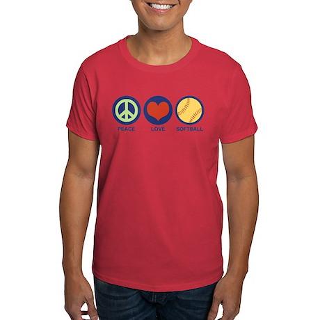 Peace Love Softball Dark T-Shirt