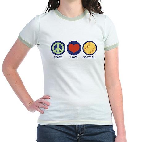 Peace Love Softball Jr. Ringer T-Shirt