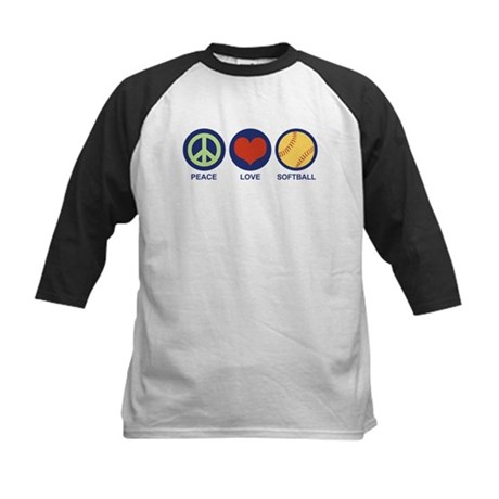 Peace Love Softball Kids Baseball Jersey