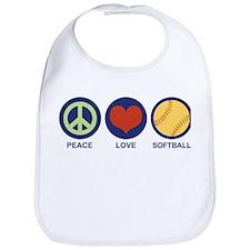Peace Love Softball Bib