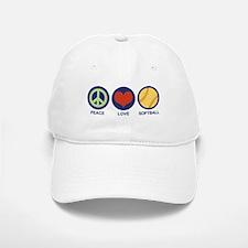 Peace Love Softball Baseball Baseball Cap