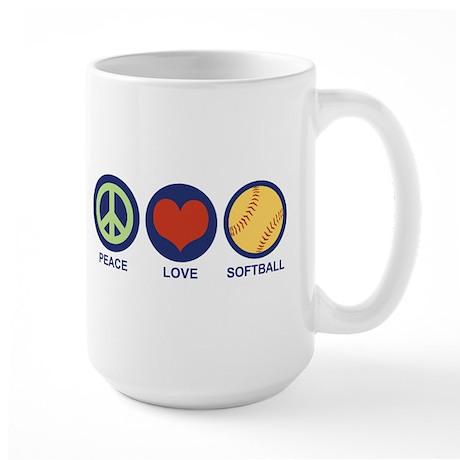 Peace Love Softball Large Mug