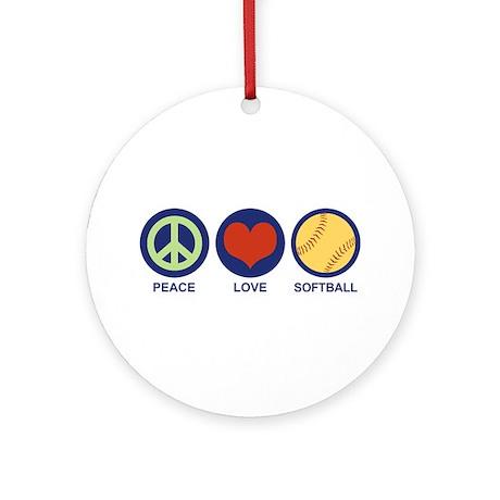 Peace Love Softball Ornament (Round)