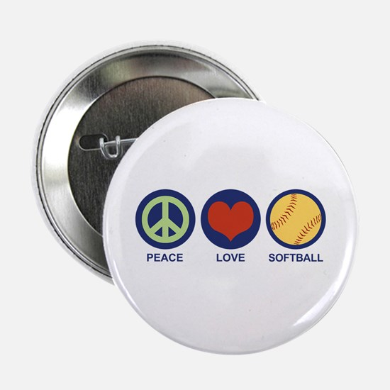 "Peace Love Softball 2.25"" Button"