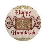 Embroidery Torah Hanukkah Ornament (Round)
