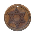 Carved Wood-look Star of David Ornament (Round)