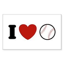 I Love Baseball Rectangle Decal