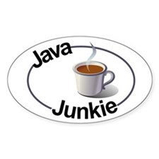 Java Junkie Oval Decal