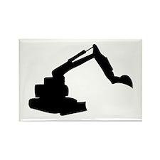 Black Construction Digger Rectangle Magnet