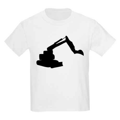 Black Construction Digger Kids Light T-Shirt