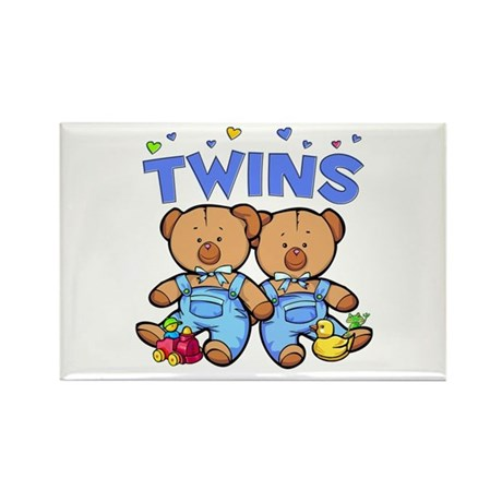 Twins - Boy Bears Rectangle Magnet (100 pack)