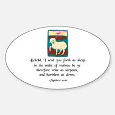 """""""Sheep Among Wolves"""" Oval Decal"""