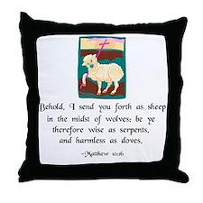 """Sheep Among Wolves"" Throw Pillow"