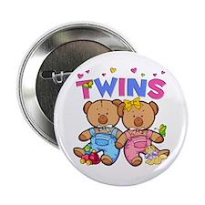 Twins - Boy & Girl Bears Button