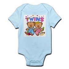 Twins - Boy & Girl Bears Infant Creeper