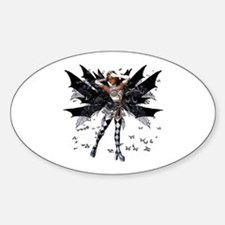 Butterfly Kisses Ebony N Ivory Oval Decal