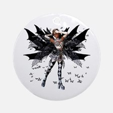 Butterfly Kisses Ebony N Ivory Ornament (Round)