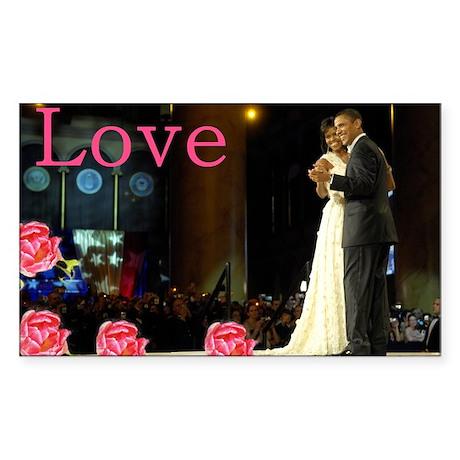 Barack & Michelle Love Rectangle Sticker