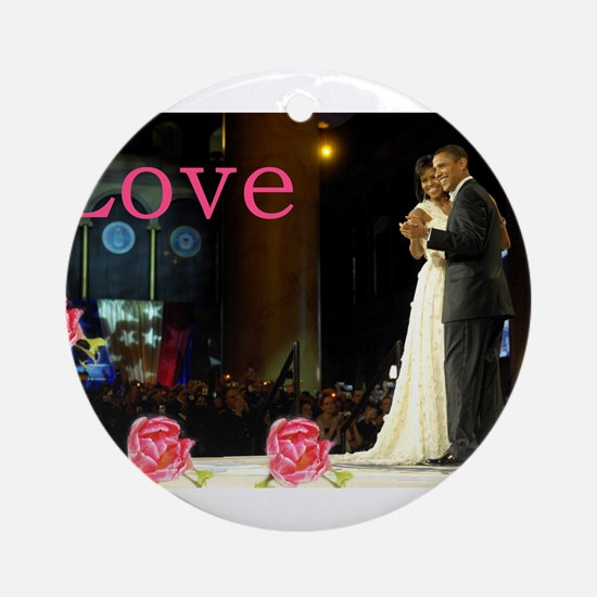 Barack & Michelle Love Ornament (Round)