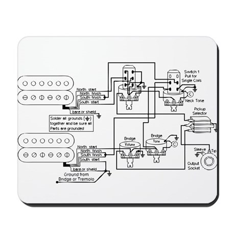Guitar Pickup Schematic Mousepad by bstreethill