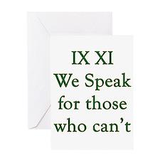 IX XI - speak Greeting Card