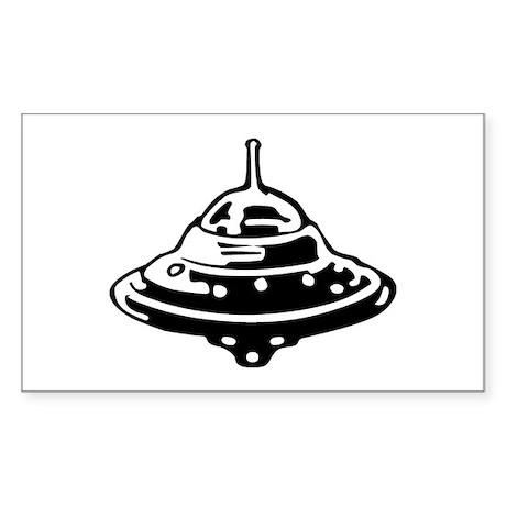 Flying Saucer Sticker (Rectangle)