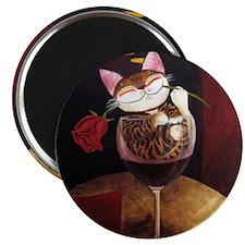 cat-art red wine Magnet