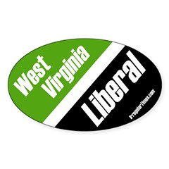 West Virginia Liberal oval bumper sticker