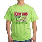 Knitting Kitten Green T-Shirt