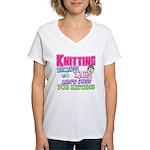Knitting Kitten Women's V-Neck T-Shirt