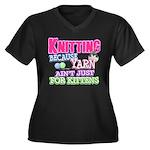 Knitting Kitten Women's Plus Size V-Neck Dark T-Sh