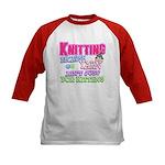 Knitting Kitten Kids Baseball Jersey