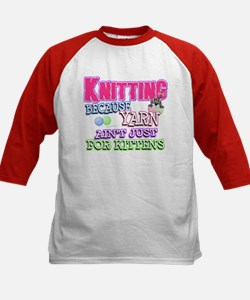 Knitting Kitten Kids Baseball Jersey