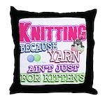 Knitting Kitten Throw Pillow