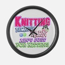 Knitting Kitten Large Wall Clock