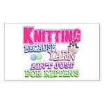 Knitting Kitten Rectangle Sticker